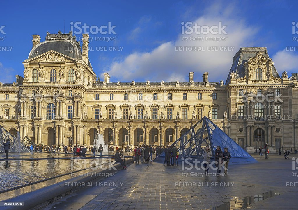 Pyramids at the Louvre Museum, Paris, France royalty-free stock photo