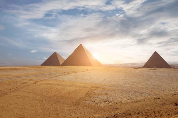 pyramids  in Cairo, Egypt stock photo