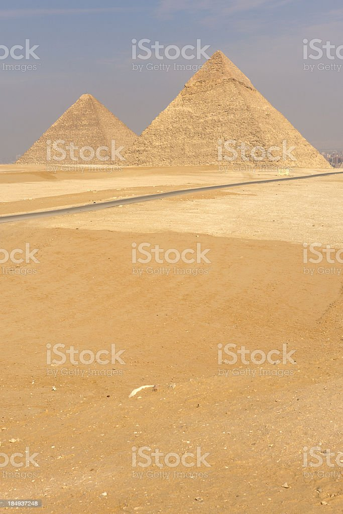 Pyramids in the distance stock photo