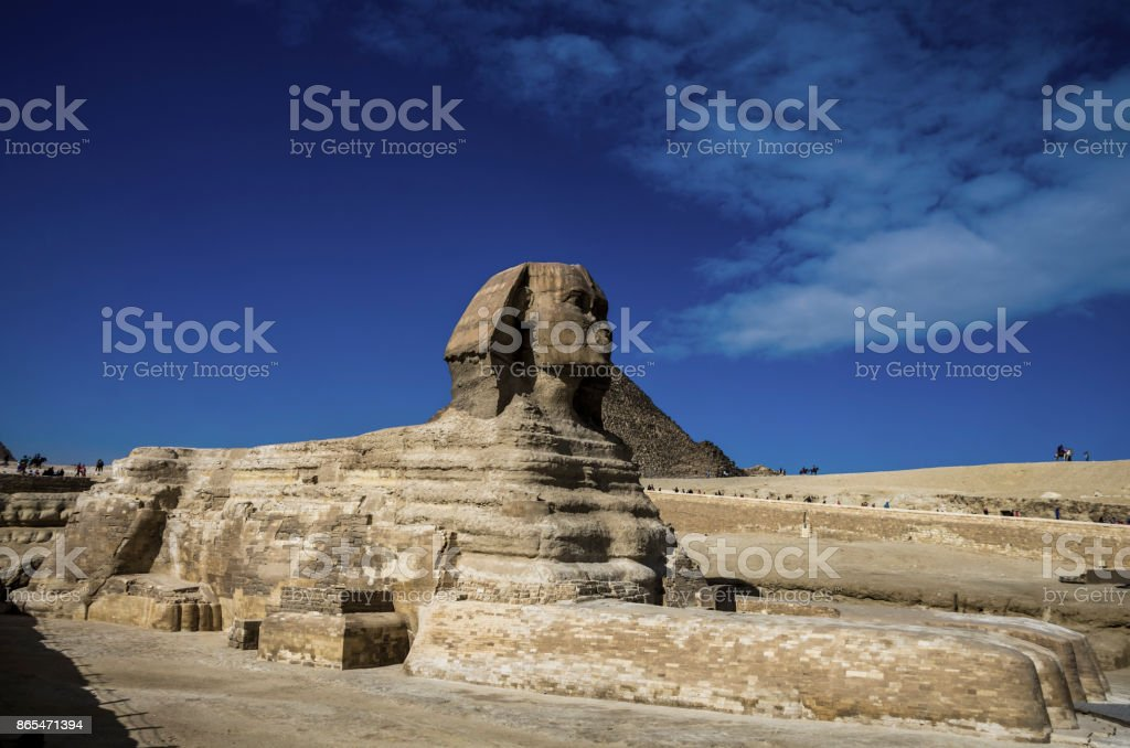Pyramids of Giza and Sphinx. Cairo, Egypt. stock photo