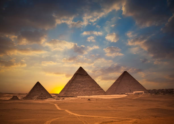 Pyramids of Giza at Sunset stock photo