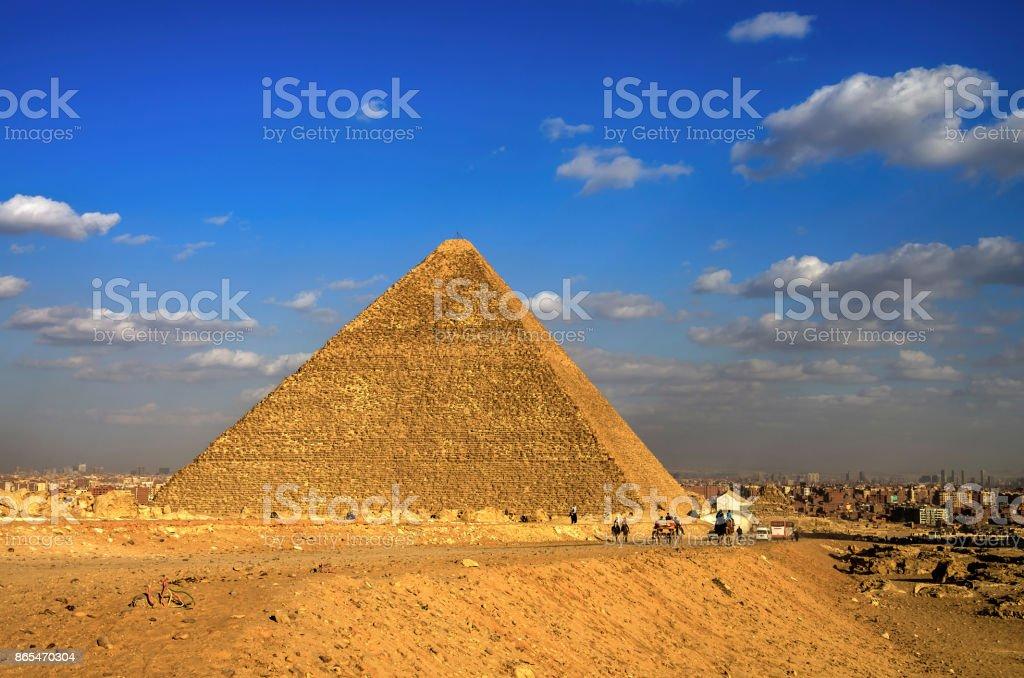Pyramids of Giza. Cairo, Egypt. stock photo