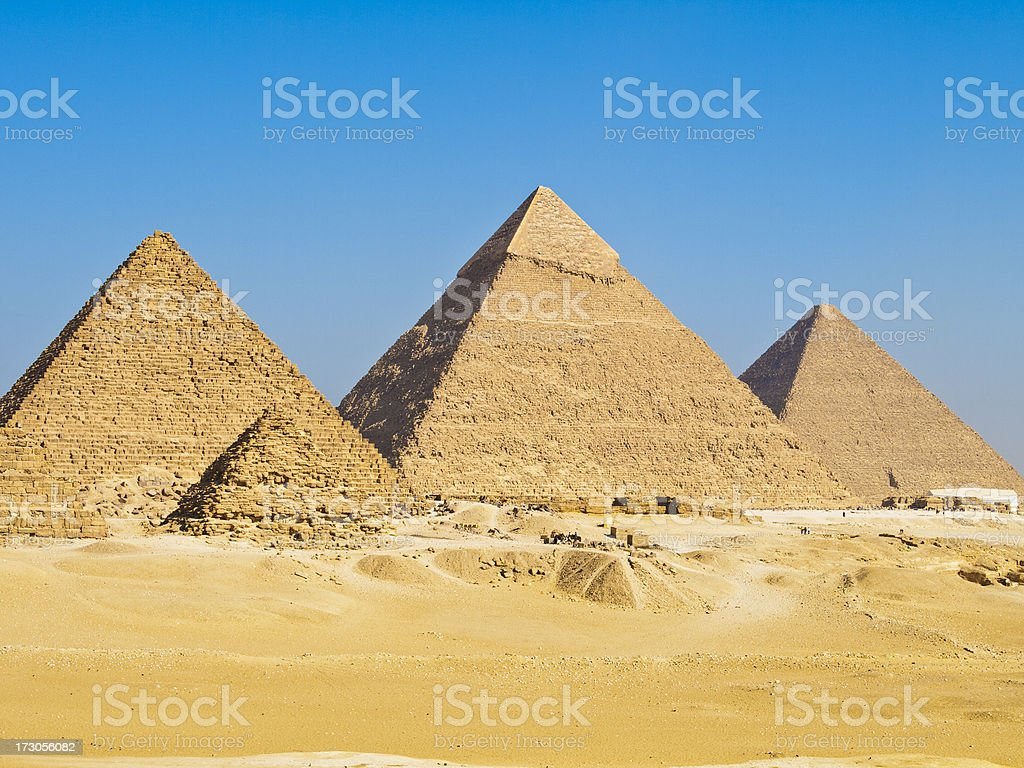 Pyramids of Giza on a clear day stock photo