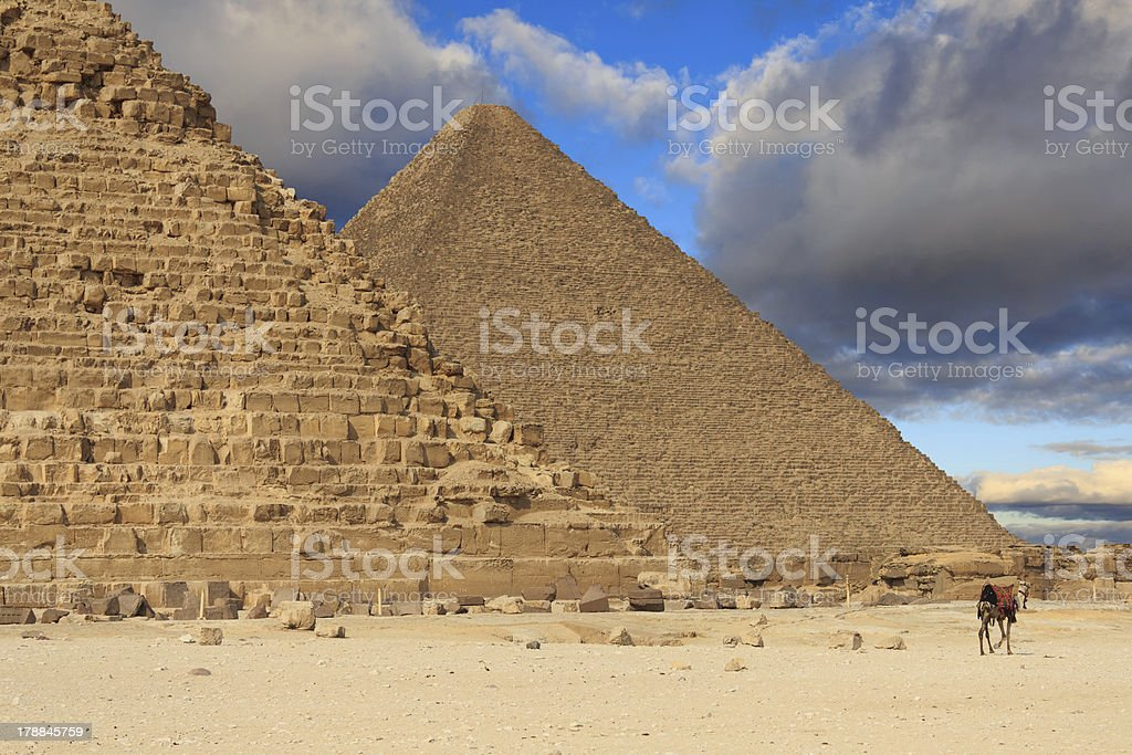 Pyramids of Khafre and Cheops, Egypt royalty-free stock photo