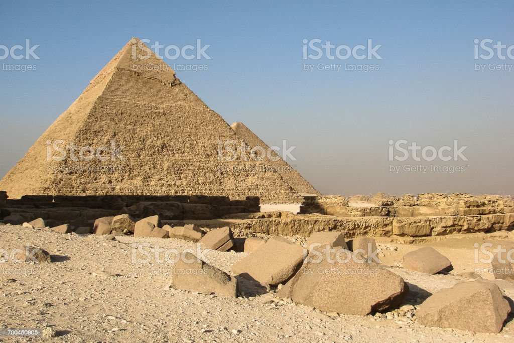 Pyramids of Khafre and Khufu on the plateau Giza stock photo