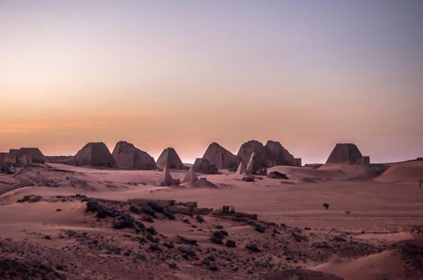 pyramids of meroe, sudan - sudan stock photos and pictures