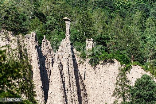 Pyramids of Segonzano (Piramidi di Segonzano), tall natural columns surmounted by a boulder of porphyry, Val di Cembra, Trentino Alto Adige, Italy, Europe