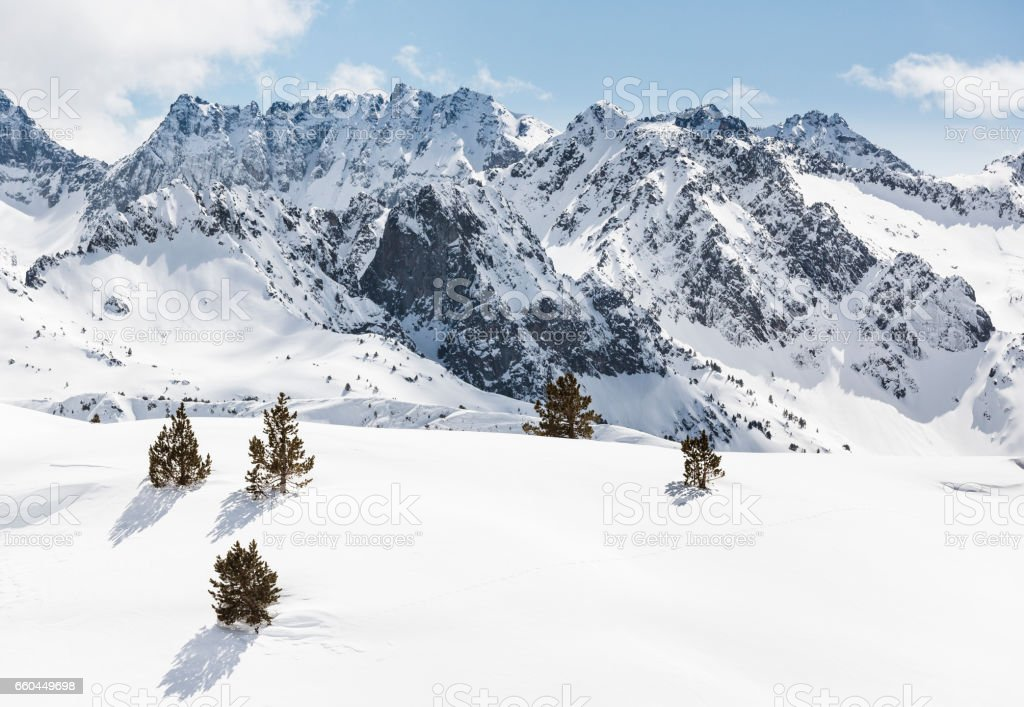 Pyrenees mountains in Val d Aran Catalonia Spain stock photo