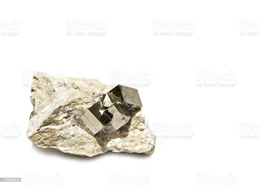 Pyrite Cubes in Matrix royalty-free stock photo
