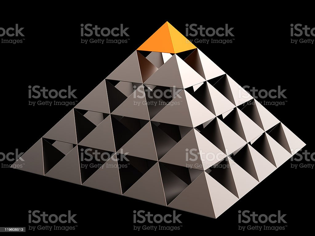 Pyrmid hierarchy The All Seeing Eye concept stock photo