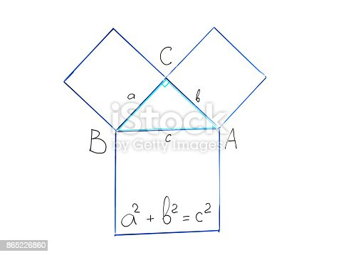 istock Pythagorean theorem on whiteboard 865226860