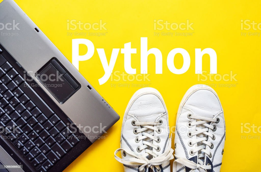 Python, programming language man legs in shoes standing next to laptop and word Python, programming language Abstract Stock Photo