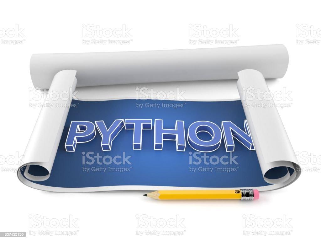Python text on blueprint stock photo
