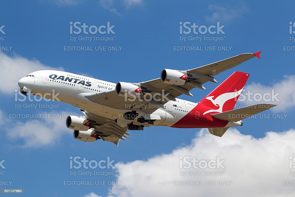 Qantas Airbus A380 VH-OQF Taking off stock photo