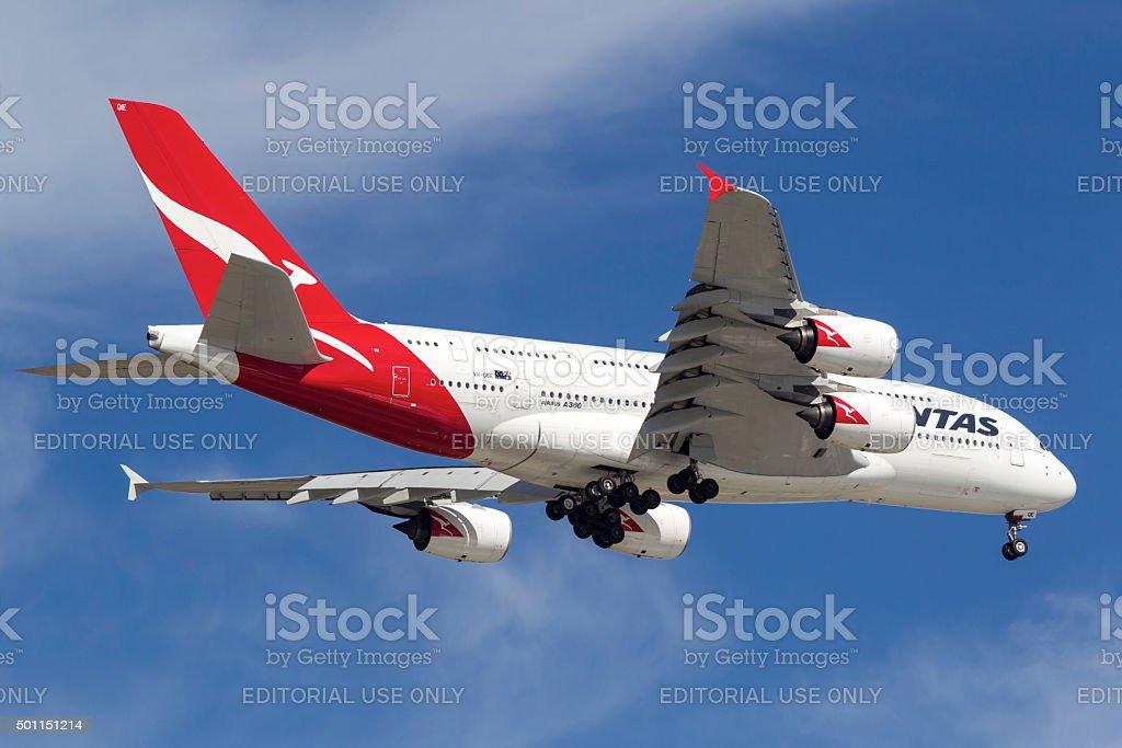 Qantas Airways Airbus A380 VH-OQE stock photo
