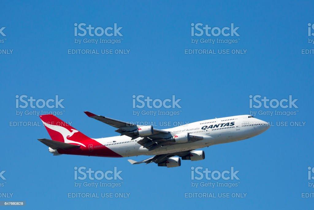 Qantas Boeing 747-400 Flying stock photo