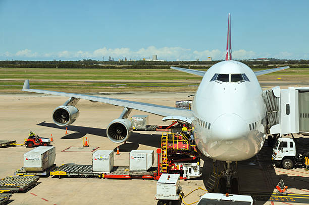 Qantas Boeing 747-400 is being loaded stock photo
