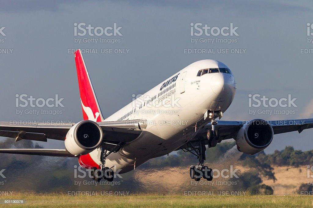 Qantas Boeing 767 VH-OGE taking off stock photo