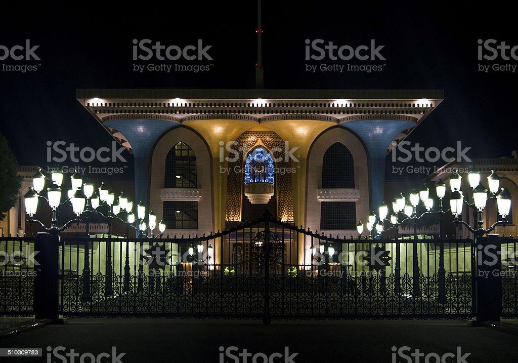 Qasr Al Alam Royal Palace by Night, Muscat stock photo