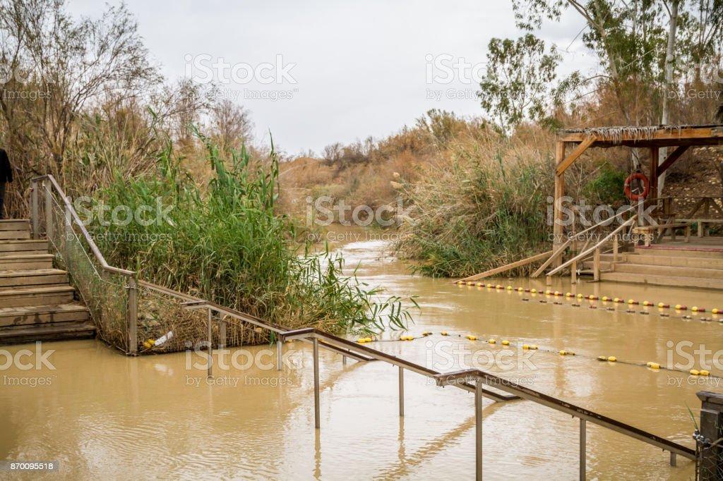 Qasr el Yahud, baptism site, Jordan River in Israel stock photo