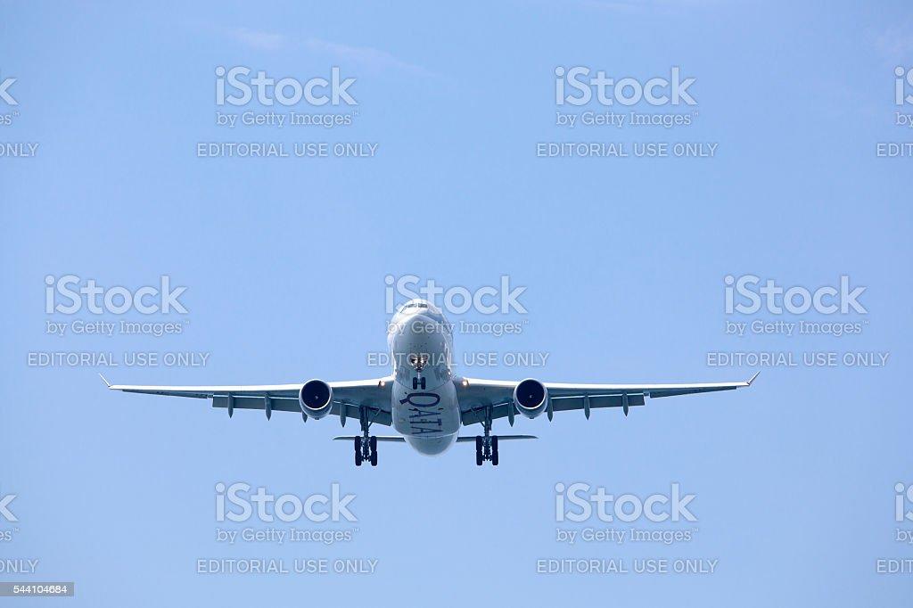 Qatar Airways Air Craft Landing stock photo