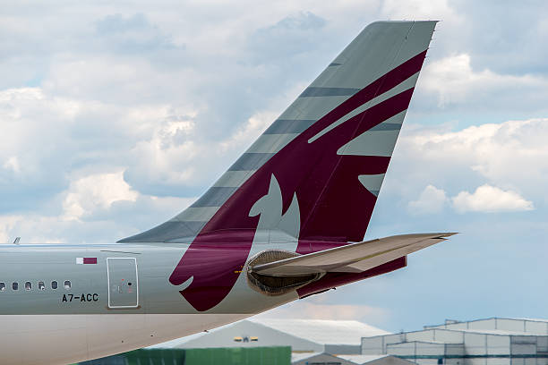 qatar airways airbus a330 tail - respiratory tract stock photos and pictures