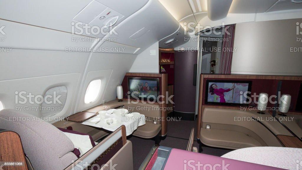 Qatar Airways Airbus A350 interior stock photo