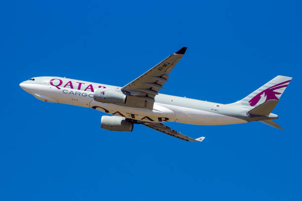 Qatar Airways Cargo Airbus A330 transport plane stock photo