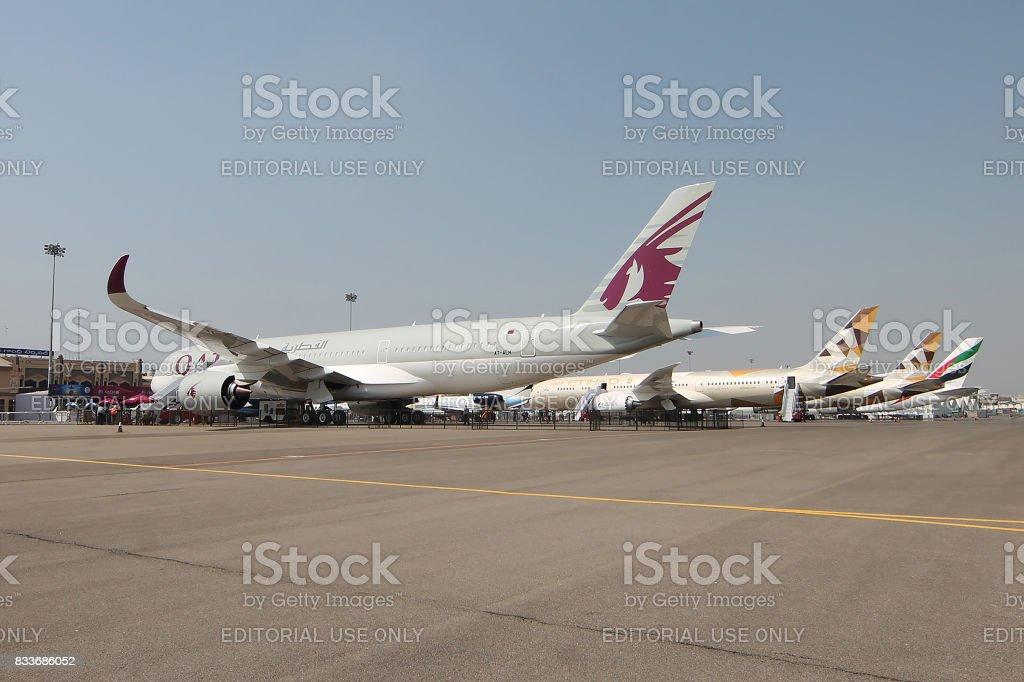 Qatar Airways, Etihad and Emirates parked together stock photo