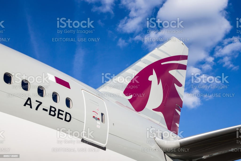 Qatar Airways Tail stock photo