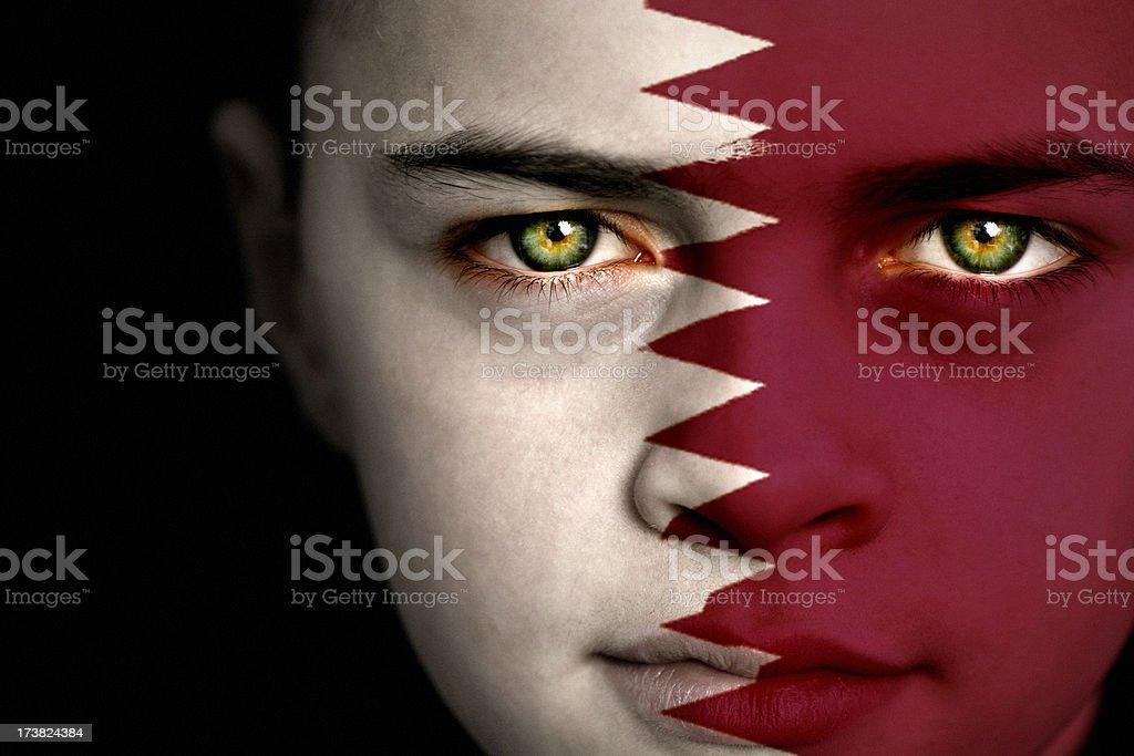 Qatar flag boy royalty-free stock photo