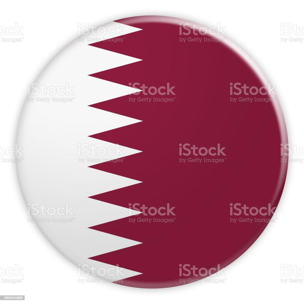 Botón de bandera Qatar, noticias concepto divisa, Ilustración 3d sobre fondo blanco - foto de stock