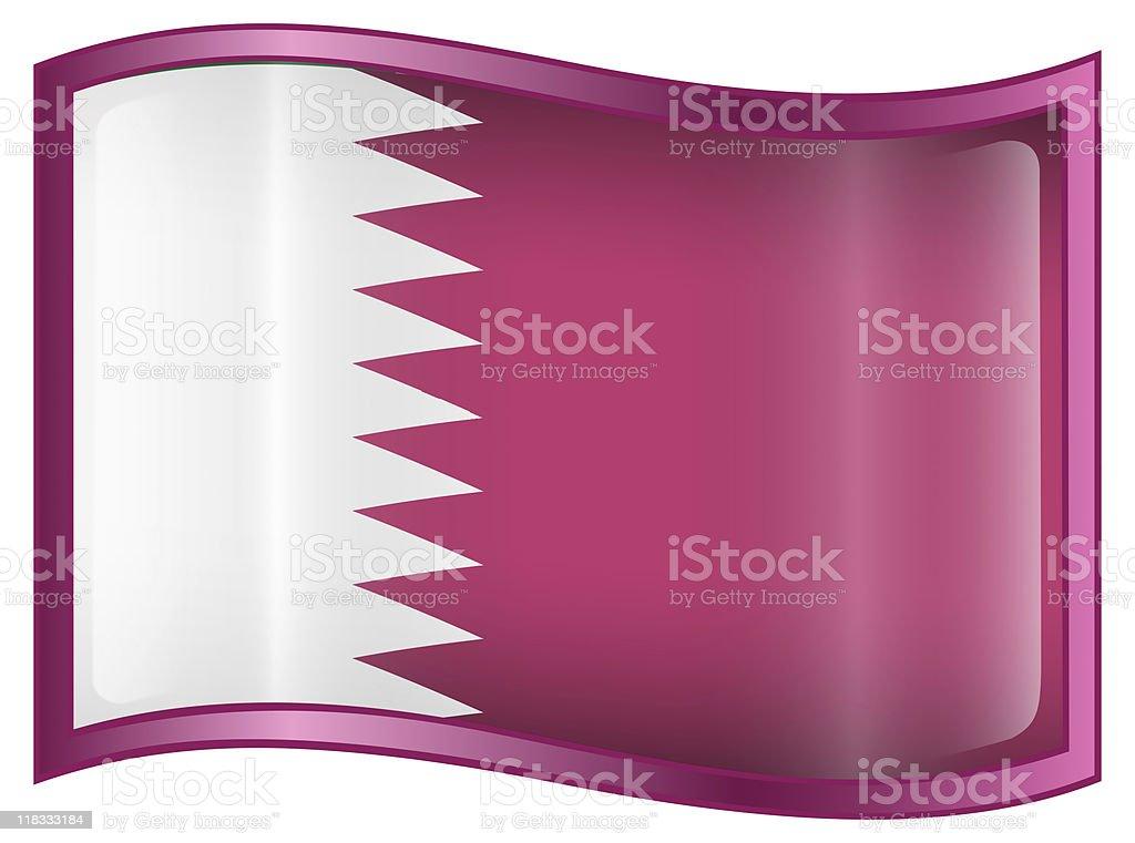 Qatar Flag Icon, isolated on white background royalty-free stock photo