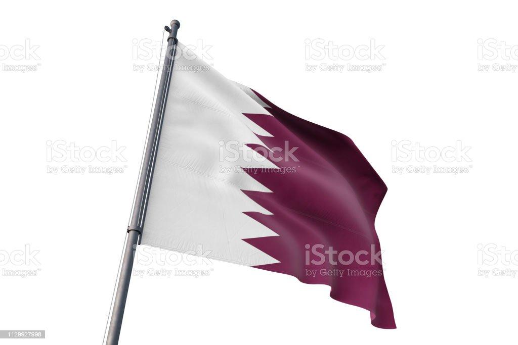 Bandera de Qatar ondeando aislado fondo blanco - foto de stock