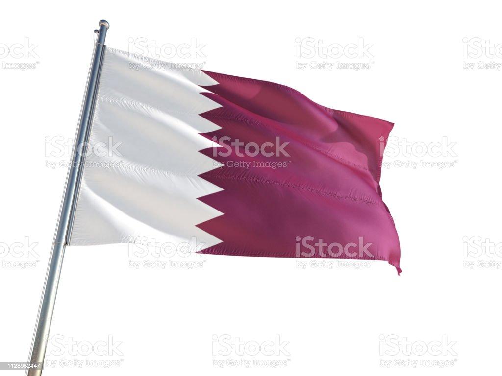 Qatar bandera nacional ondeando en el viento, aislado fondo blanco. Alta definición - foto de stock