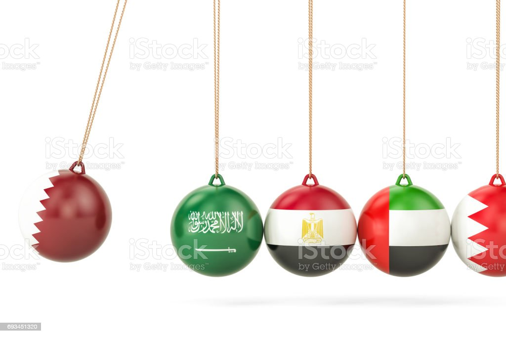 Qatar political conflict with Saud Arabia, Egypt, UAE and Bahrain concept. 3D rendering stock photo