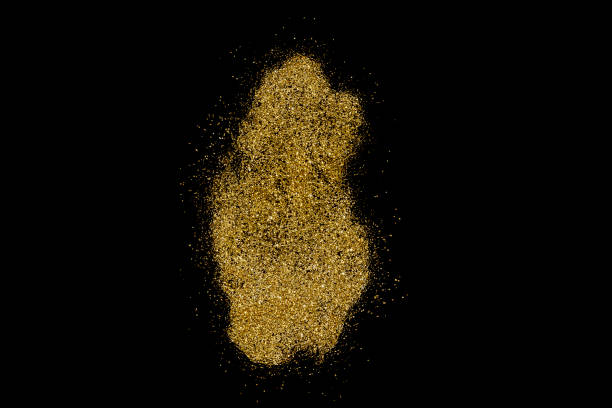 Qatar shaped from golden glitter on black (series) stock photo
