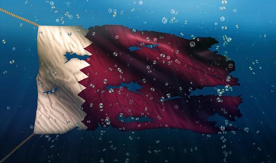 Qatar Under Water Sea Flag National Torn Bubble 3D