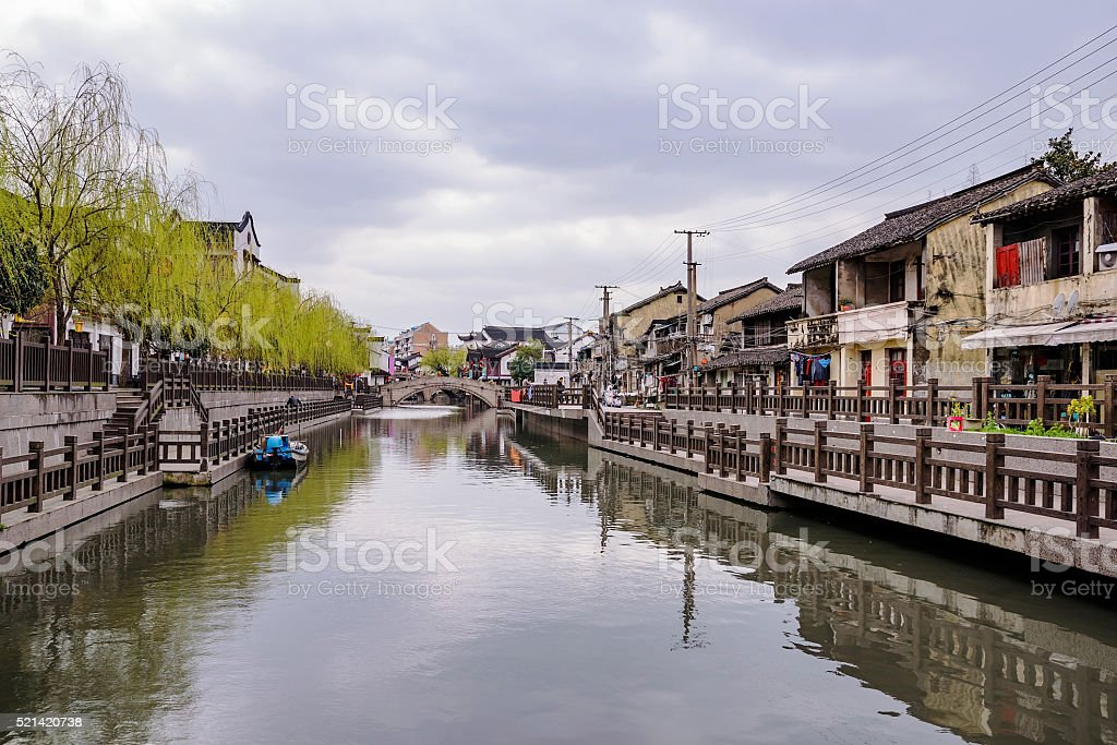 Qibao ancient town on a cloudy day stock photo