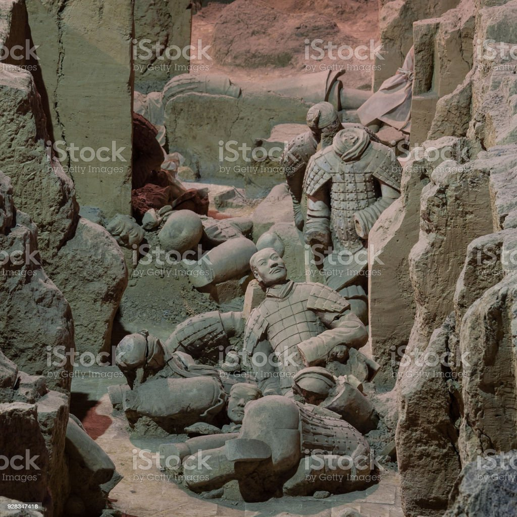Qin Shi Huang Mausoleum of terracotta soldiers broken ruins of the Xi'an City, Shaanxi Province, China stock photo