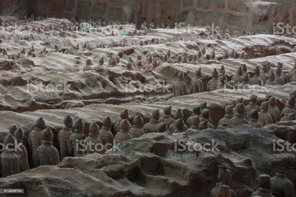 Qin Shi Huang Mausoleum of terracotta soldiers of the Xi'an City, Shaanxi Province, China stock photo
