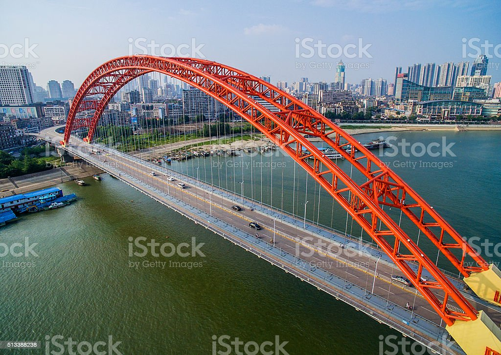 Qingchuan Bridge in wuhan china stock photo