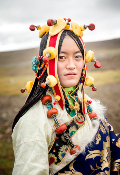 qinghai nomad bruid - double_p stockfoto's en -beelden