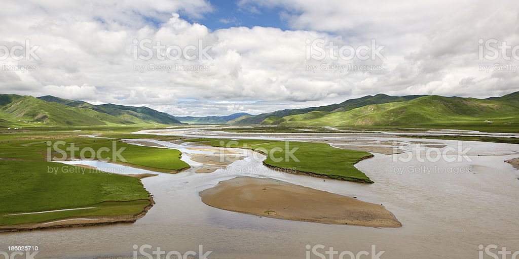 qinhai, china: yellow river valley stock photo