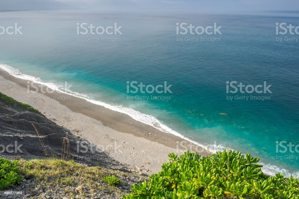 Qixingtan Beach, the Hualien City landmark in the east coast of Taiwan. stock photo