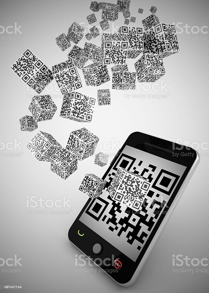 qr code and pda concept stock photo