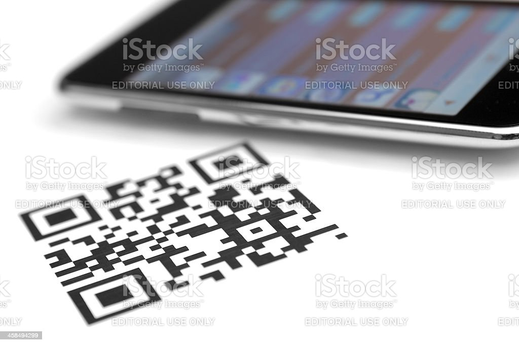 qr code and smartphone royalty-free stock photo