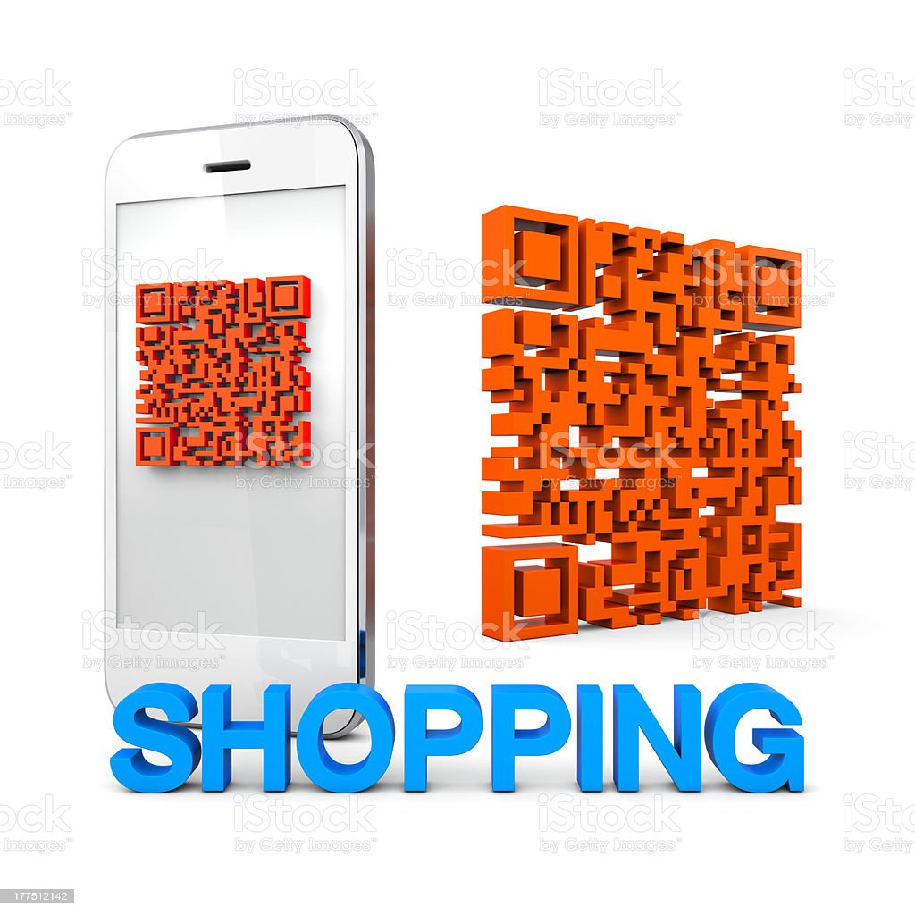 QRcode Mobile Phone Shopping royalty-free stock photo