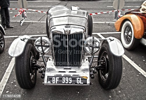 Angers, France - april 7th 2013 : MG Q-type (also named MG QA) exhibed on the parking of the castle. This race car was producted in 1934 by MG. There's only 8 or 9 cars of this type in the world.