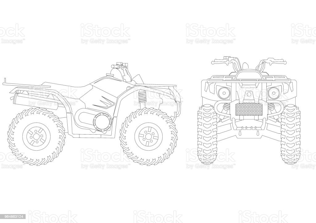 Quad Bike blueprint – isolated royalty-free stock photo